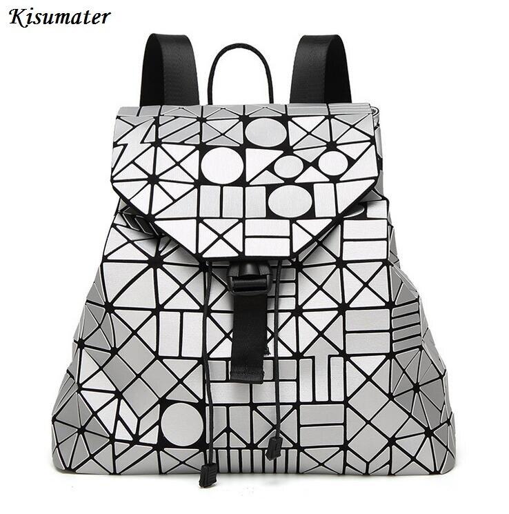 Kisumater 2017 New Matt Surface Geometric backpack famous logo bag Student s school packback women backpack