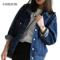 Fashion Autumn Vintage Women's Jeans Loose Denim Jacket Women Short Jean Jacket Jackets For Women Outwear Plus Size Coats S243