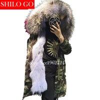 Free shipping 2017 winter new fashion women high quality raccoon fur collar blue and purple fox fur Army Green Camo loose parka