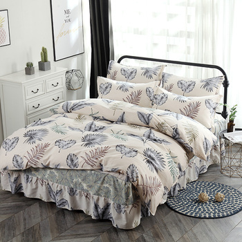 2019 Leaves Bedding Set Cotton 4Pcs Twin full Queen King Size Duvet Cover bed skirt Pillow Cases Europe bedclothes quilt cover