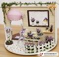 """Casa de boneca Diy modelo de construção 3D Miniature """" Lavender """" pode girar 360 graus de natal casa de bonecas de madeira brinquedo de presente frete grátis"""