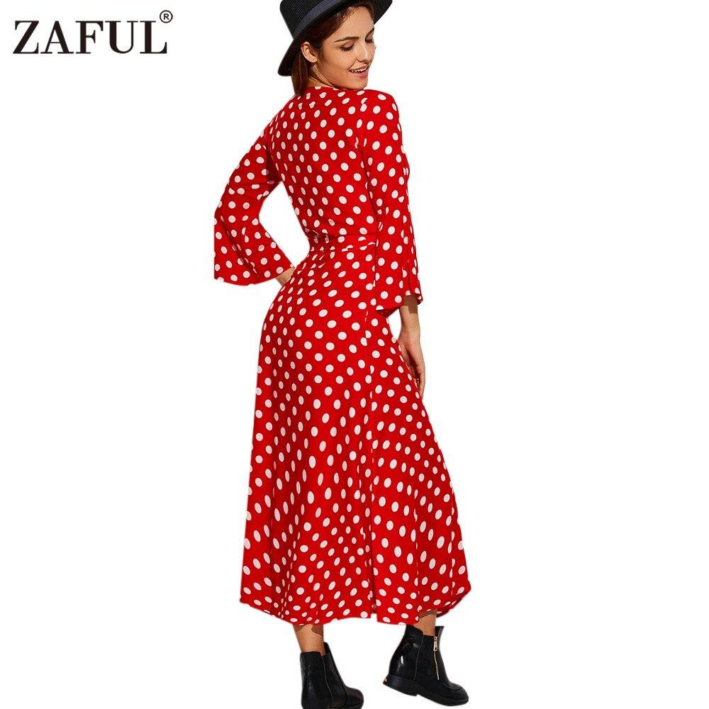 a7013b958e4 ZAFUL Brand Wrap Red Polka Dot Maxi Dress Women Vintage Robe Long Sexy V  Neck 3 4 Sleeve Beach Summer Dresses Feminino Vestidos-in Dresses from  Women s ...