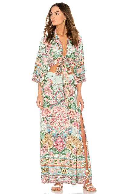 9ac0f9f8a4de1 US $36.41 25% OFF|BOHOFREE 2018 Bohemian Holiday Dress Lotus Floral Print  Vestidos Femme Set Wear Cardigan Top Dress Boho Chic Maxi Dress-in Dresses  ...