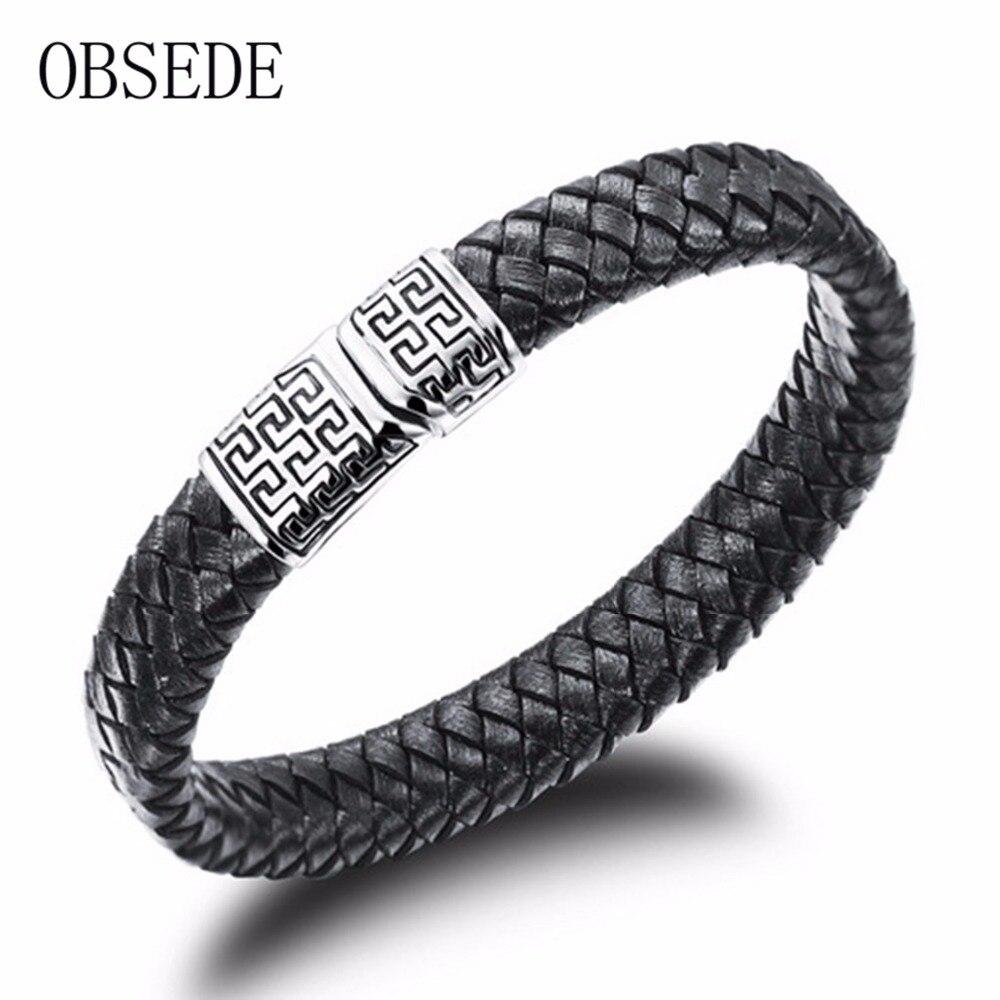 Obsede Fashion Black Leather Bracelet Braided Bracelet For