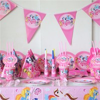 my little pony theme birthday decoration 10person use 83pcs a firend big party set tableware set paper dish cup straw banner ec