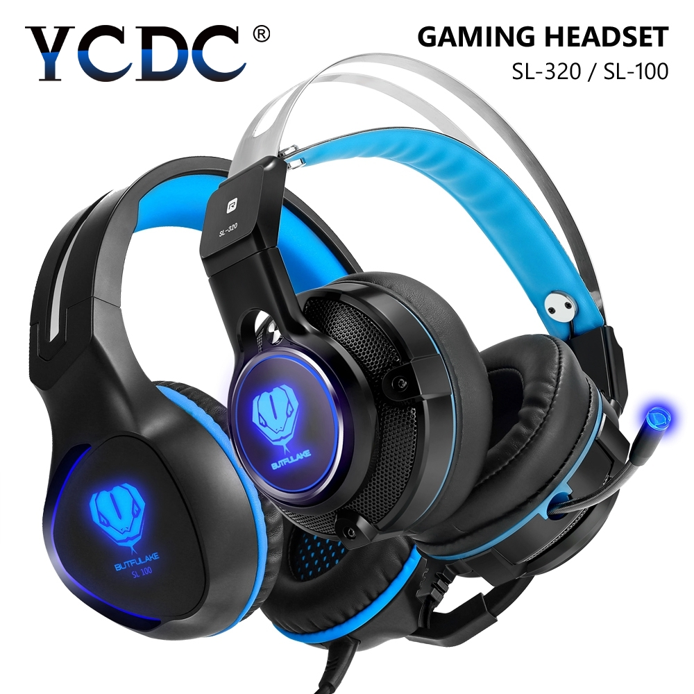 YCDC 1PC Game Headset Gaming Headphone 3.5mm With Stereo Bass LED Mic LED Earphones And Headphone For PS4 Laptop PC iPhone MP3
