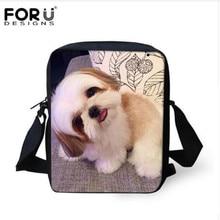 FORUDESIGNS/Женская мини-сумка через плечо с 3D изображением животных Ши-тцу, повседневные женские сумки на плечо для дам, женская сумка-мессенджер, Mochilas