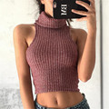 Feminino Mujeres recortada Bustier Crop Top de Cuello Alto 2016 Del Chaleco Sin Mangas Brandy Melville Regata Feminina Verano A737