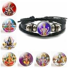 Lakshmi Goddess Button Leather Bracelet Jewelry Hinduism Amulet Charm Luminous Glass Cabochon Pendant for Him or Her