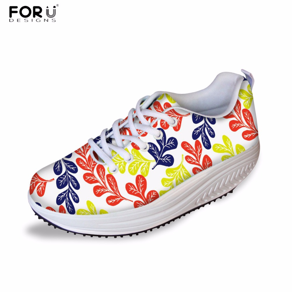 FORUDESIGNS Height Increasing Women Casual Shoes 3D Flower Printed Women's Slimming Swing Shoes Platform Flats Shoes for Ladies forudesigns fashion women height increasing flats shoes 3d pretty flower rose printed casual high top shoes for female platform