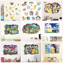 Pokemon dos desenhos animados Animais Adesivos De Parede Para Quarto de Crianças do jardim de Infância Quarto Pintura Mural Da Parede Pvc Decalques de Decoração Para Casa Diy 3d Buraco