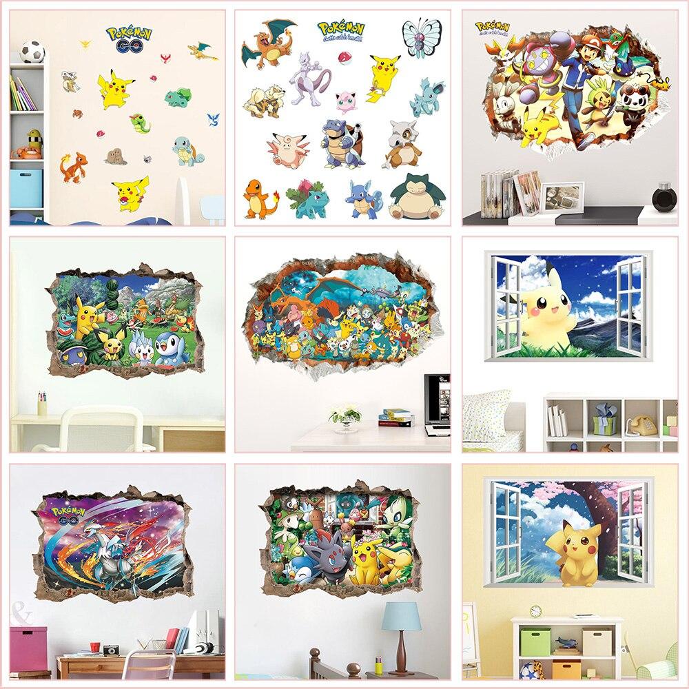 Dessin animé Pokemon animaux Stickers muraux pour maternelle enfants chambre chambre décoration de la maison bricolage 3d trou Mural Pvc Stickers