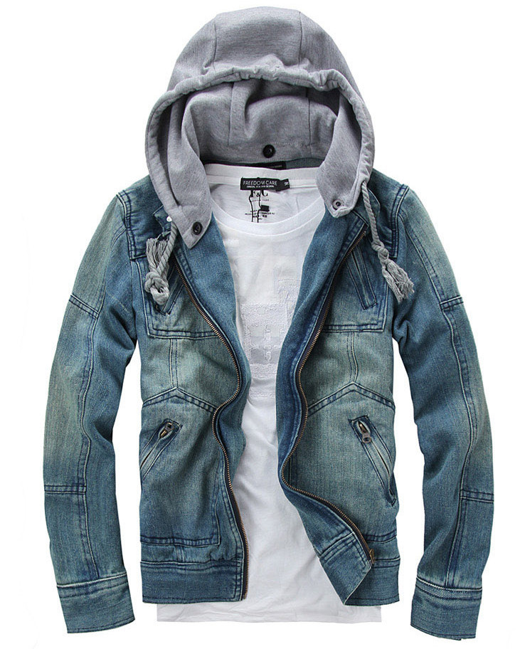Popular Mens Hooded Denim Jacket-Buy Cheap Mens Hooded Denim
