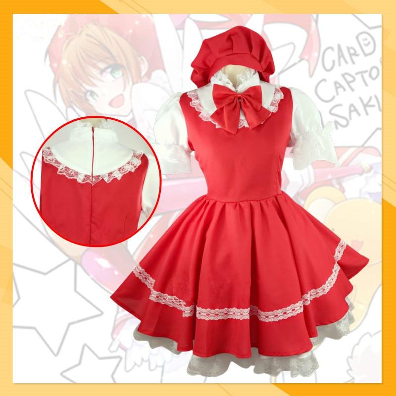 Carte Captor Sakura Cosplay Costume Cardcaptor Kinomoto rouge bataille robe ensemble complet