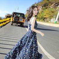 Beach dress seaside vacation Bali beach dress summer chiffon sash floral dress bohemian dress long dress elegant dress