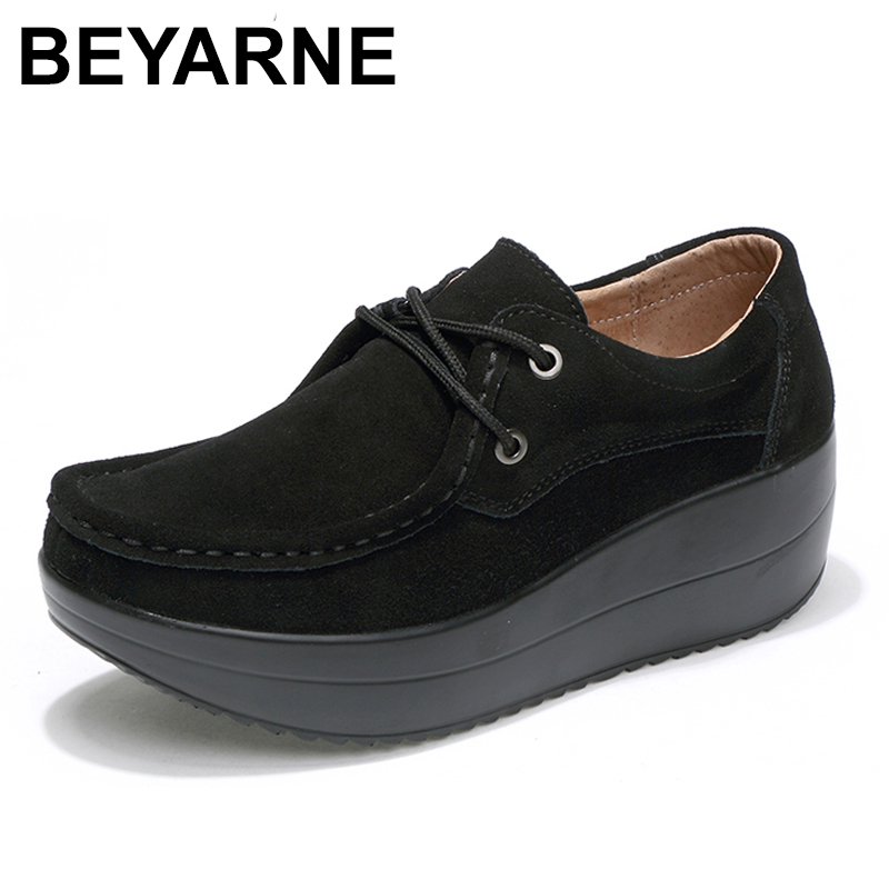 BEYARNE 2018 Spring women flats shoes thick soled high platform shoes   leather     suede   ladies casual shoes lace up flats