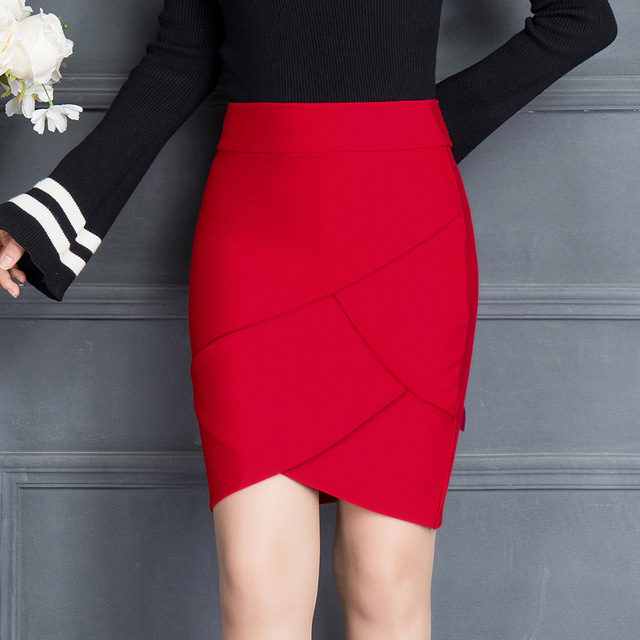 2019 Summer Women Work Skirt Fashion Slim Ruffle Elastic High Waist Package Hip Skirt Black And Red Skirts