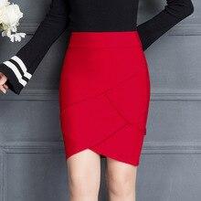Jupe de travail, rouge et noir, modèle pour femme, à volants, taille haute élastique, paquet de hanches, été 2019
