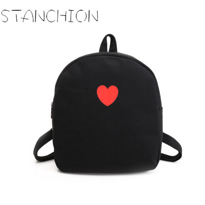 STANCHION Women Backpack Mini Fashion Fresh Candy Color Bag Cute Sweet Heart Canvas