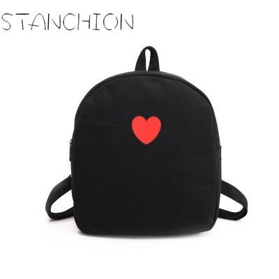 STANCHION Women Backpack Mini Fashion Fresh Candy Color Bag Cute Sweet Heart Canvas Backpack new sweet little fresh little lady backpack fashion kids mini school bag ly1813