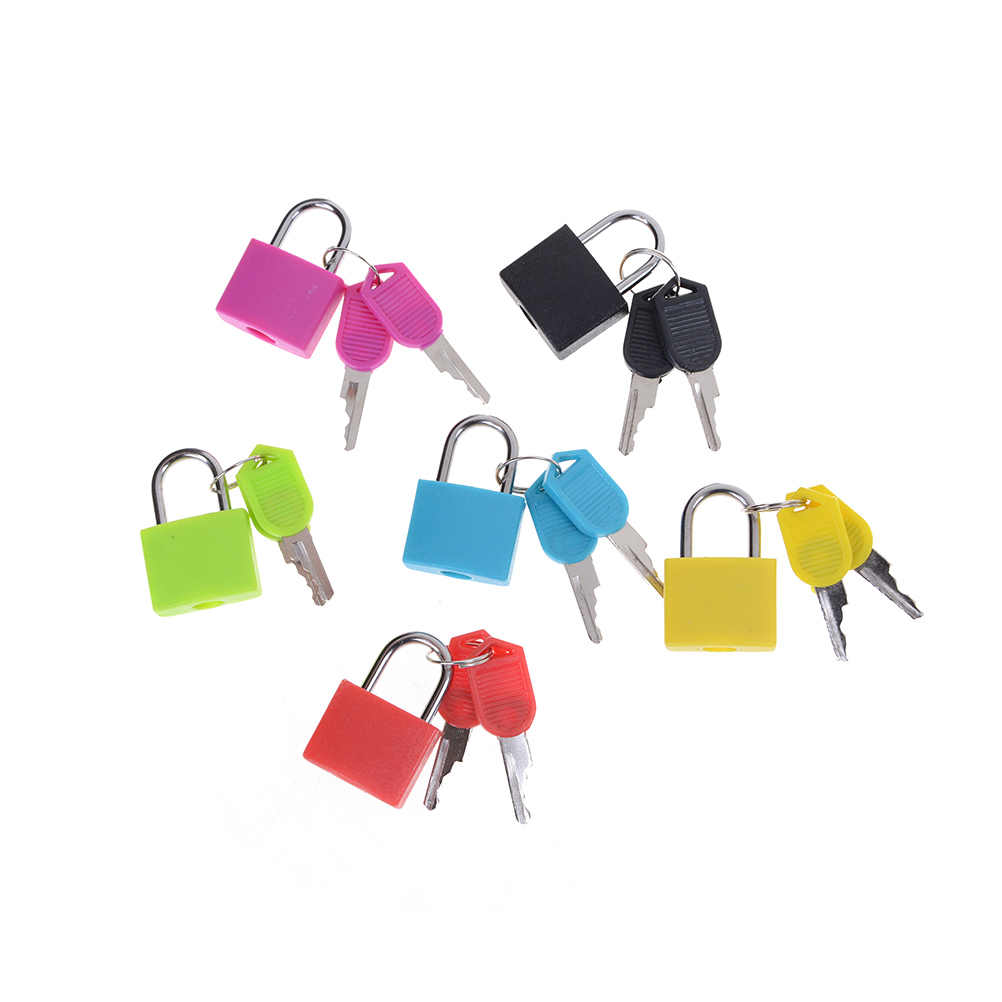 6 colors Small Mini Strong Steel Padlock Travel Tiny Suitcase Lock with 2 Keys