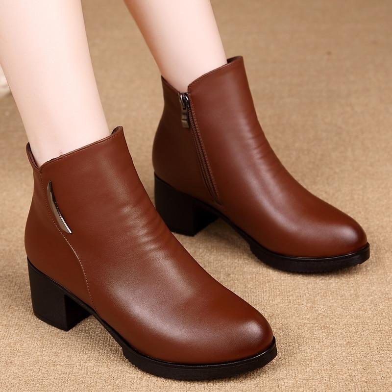 De Tobillo Terciopelo Cuero Zapatos Moda Para Negro marrón 2018 Mujer Más Botas Nueva Invierno Antideslizante Genuino Comodidad x1gE7w74