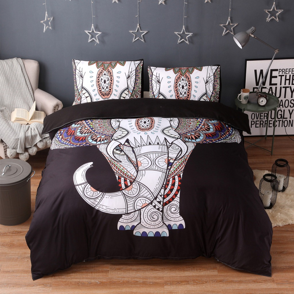 Thailand Elephant Bed linens Bedding Sets Duvet Cover Set with Pillowcases Mandala Jacqu ...
