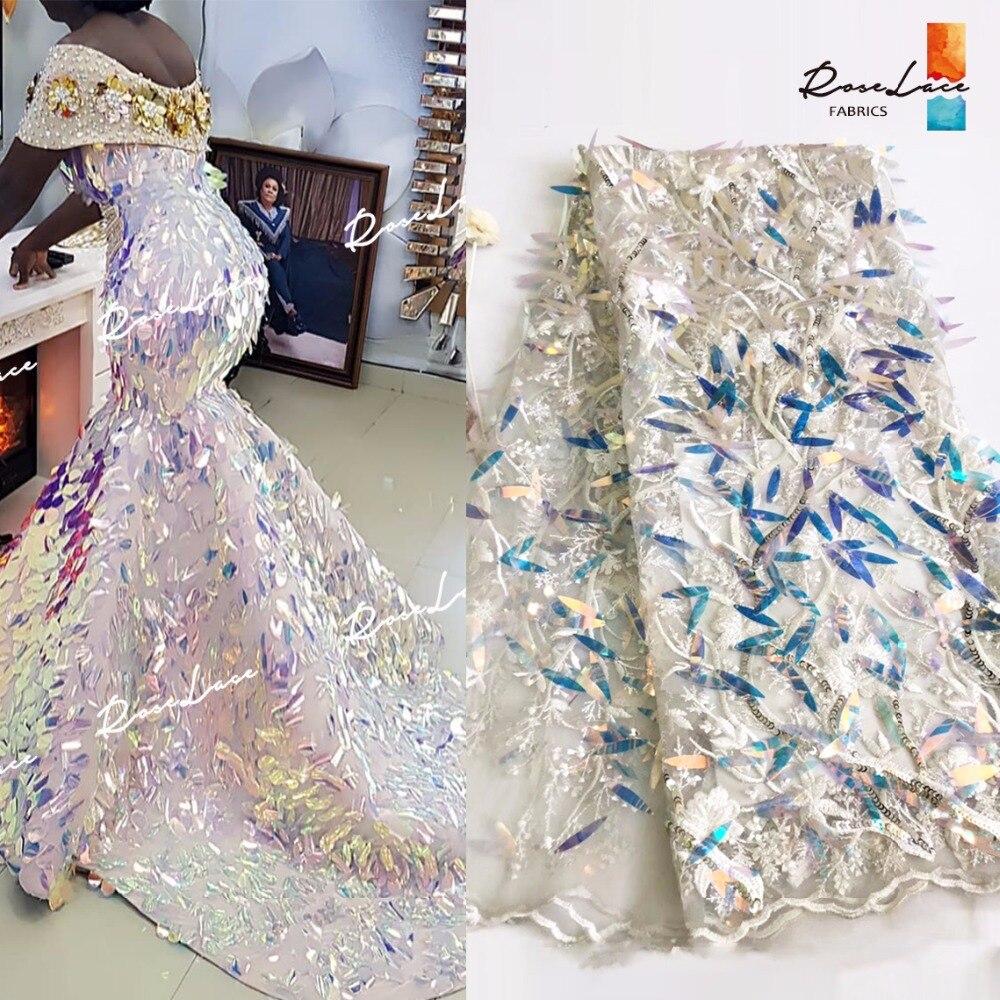 3D Paillettes dentelle à tulle franco africaine Tissus 2019 Nouvelle Nigérian Paillettes Brodé Maille De Bal De Mariage robe de soirée Couture Tissus-in Dentelle from Maison & Animalerie    1
