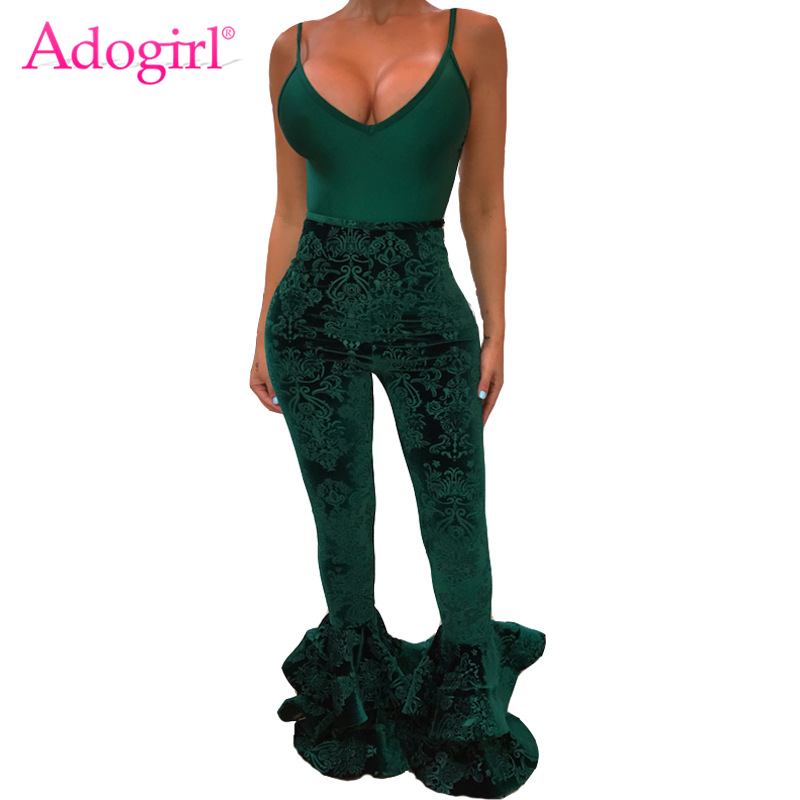Adogirl Green Floral Velvet Skinny Flare Pants for Women High Waist Ruffles Bottom Slim Casual Pants Ladies Trousers