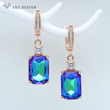 S&Z New Square Imitation Crystal 585 Rose Gold Dangle Earrings Temperament Personality For Women Wedding Party Fashion Jewelry