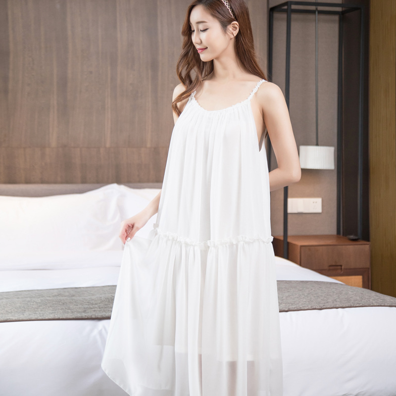 Summer girl students sexy Nightdress sweet Korean loose Chiffon   Nightgowns   Sling skirt   Sleepshirts   princess   nightgown   sleepwear