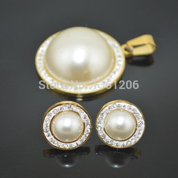 JJ04 (Купите 2 комплекта, получите 2 цепи в подарок) ювелирный набор из нержавеющей стали серьги + кулон ожерелье модный аксессуар оптом, вечерн