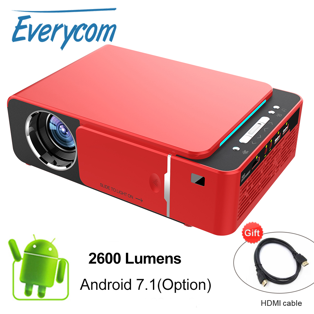 Everycom T6 LED Video Projector HD 720P Portable HDMI Option Android Wifi Beamer Support 4K Full
