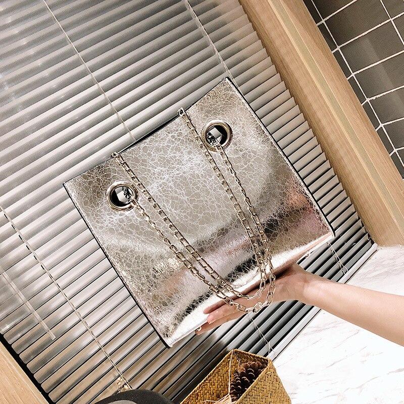Big Tote Female Bag Burst Crack Chain Shoulder Messenger Bag PU Leather Rivet Large Capacity Mobile Ladies Bags for Women 2020 7