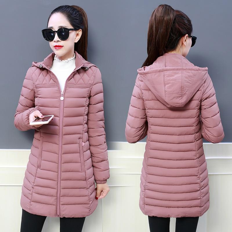 2019 Women Winter Hooded Warm Coat Slim Plus Size 5XL Candy Color Cotton Padded Basic Jacket Female Medium-long Jaqueta Feminina