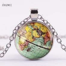 d30490300c1a Llegado DIY globo Domo collar tierra Mapa Mundial colgante cadena de  cristal joyería Mapa de Nueva York collar hecho a.