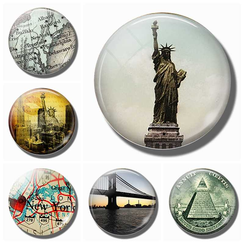 Vrijheidsbeeld 30 MM Magneet Koelkast Notes New York City Koelkast Magneet Glas Dome Vrijheid voor Alle Vintage Art home Decor