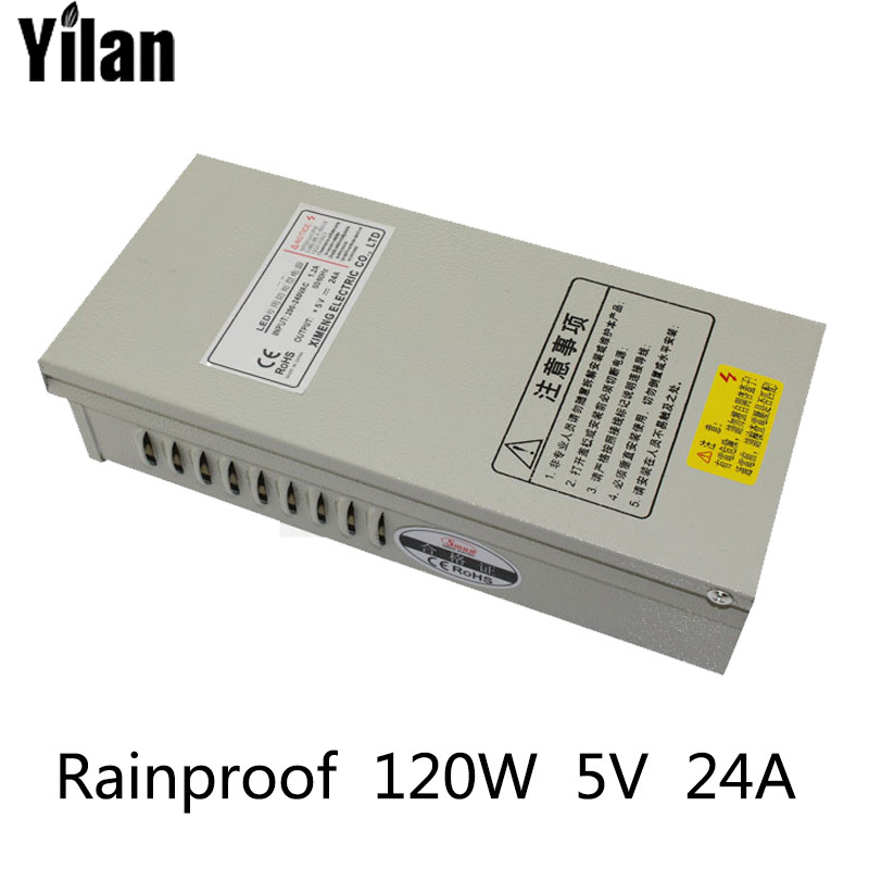 120W 5A 24V Rainproof outdoor Single Output Switching power supply smps AC TO DC for LED 60w 24v 2 5a rainproof outdoor single output switching power supply smps ac to dc for led
