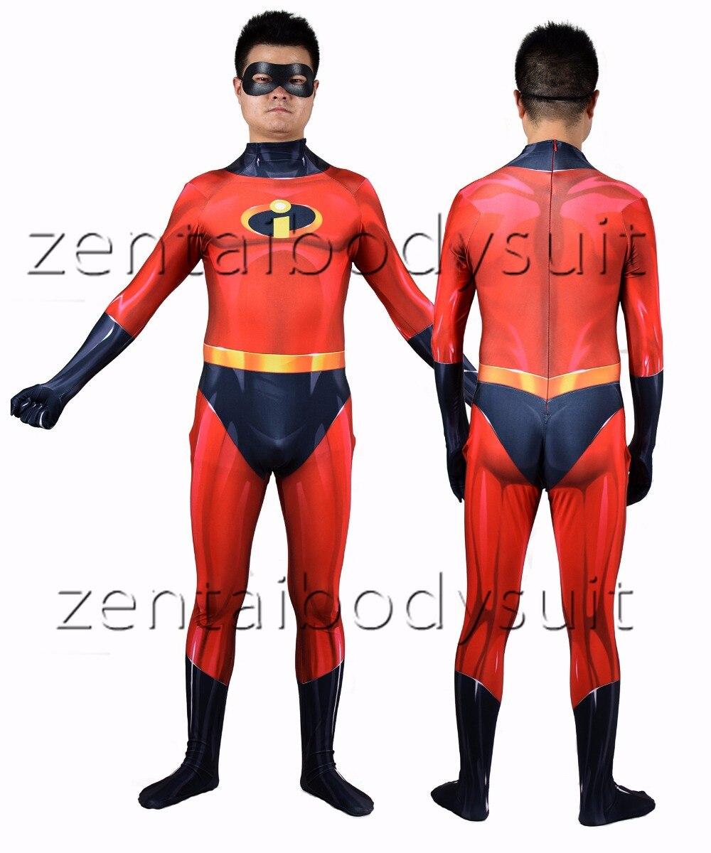 The Incredibles 2 Mr. Incredible Printing Superhero Cosplay Costume Zentai Bodysuit Suit Halloween Jumpsuits