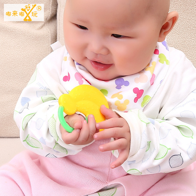 1pcs 2015 High-quality Fruit Cartoon Silicone Baby Teether Free Shipping Toys Kids Teething Silicon Baby Teethers Children Care