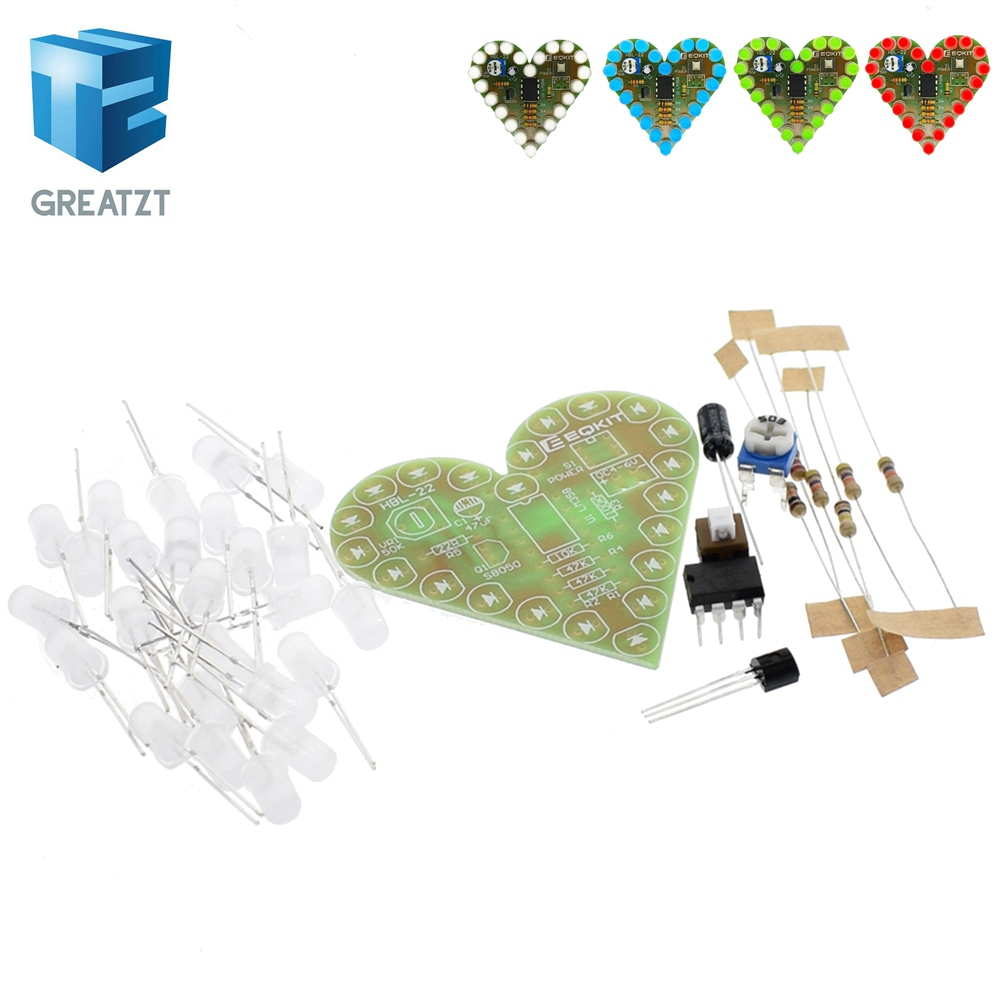 DIY Kit Heart Shape Breathing Lamp Kit DC 4V-6V Breathing LED Suite Red White Blue Green D