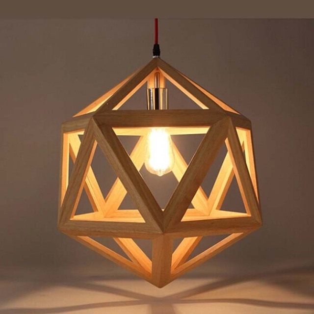 The Dining Room Wooden Logs Art Lamps Study Simple Wood Chandelier Hexahedron Pendant Lamp