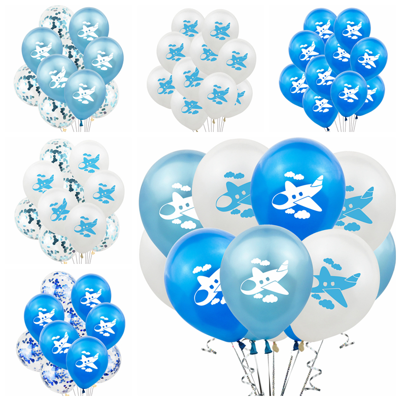 10pcs/lot 12 Inch Blue White Airplane Printed Latex Balloons for Kids Birthday Party Air Balls Decoration Baby Shower Supplies75 image