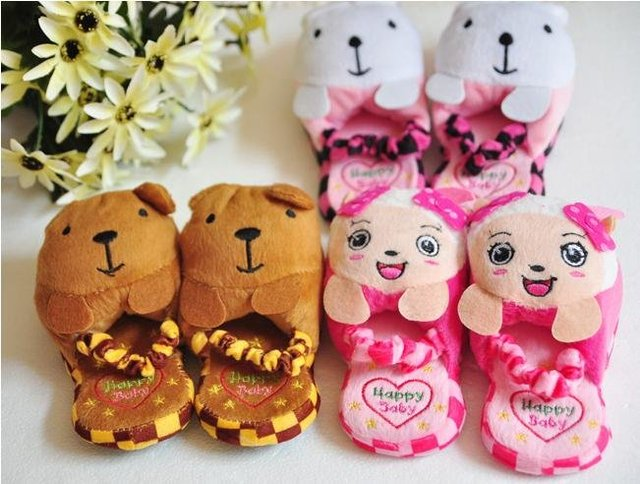 Free shipping Wholesale children's slippers winter cute furry slippers cotton slippers cartoon slippers