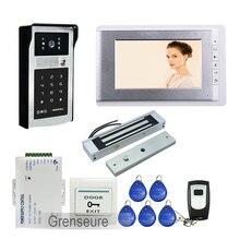 FREE SHIPPING Wire 7″ LCD Monitor Video Intercom Door Phone Kit + Waterproof RFID Code Keypad Doorbell Camera + Magnetic Lock
