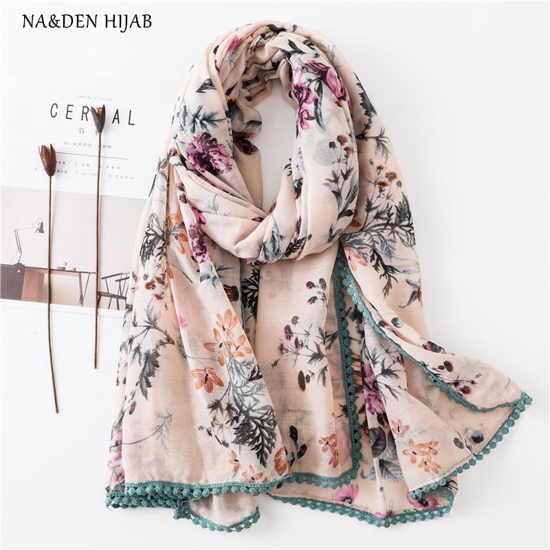 NEW Autumn Flower Scarf Embroidery Dot Hijab Muslim Fashion Woman Scarves Shawls Bandana Soft Islamic Hijabs Luxury Design
