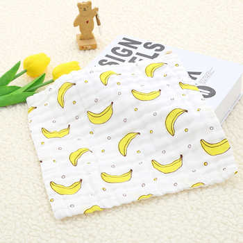 Baby Towel 100% Cotton 6 layers Gauze 25*25cm Soft  Kids Square Towel Newborn Infant Cartoon Face Hand Feeding Bibs Handkerchief six layers of gauze cotton square towel children towel fold a handkerchief plain printed saliva towel