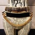 Europa la moda de la personalidad borla del remache de cadena anchos cinturones de cuero de mujer salvaje club nocturno cinturón decoración faja