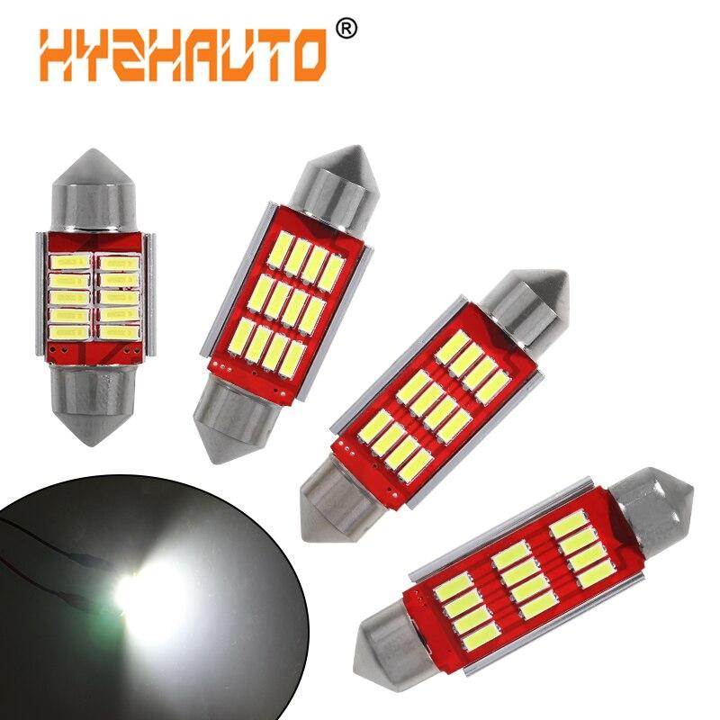 HYZHAUTO 10 шт. C10w C5w светодиодная лампа Canbus Festoon 31 мм 36 мм 39 мм 42 мм светодиодный 4014 SMD автомобильный внутренний купол лампа для чтения белый 6000K 12 В