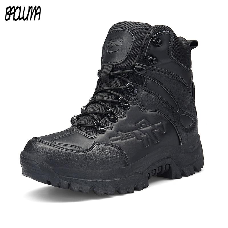 Male Zipper Designer Mens Waterproof Boots Tactical Boots Military Desert Combat Boots Mens Work Autumn Winter Ankle Boots Wide